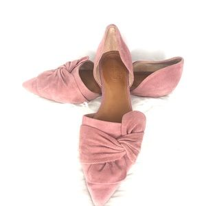 Corso Como Pink Suede Pointed Flats With Bows